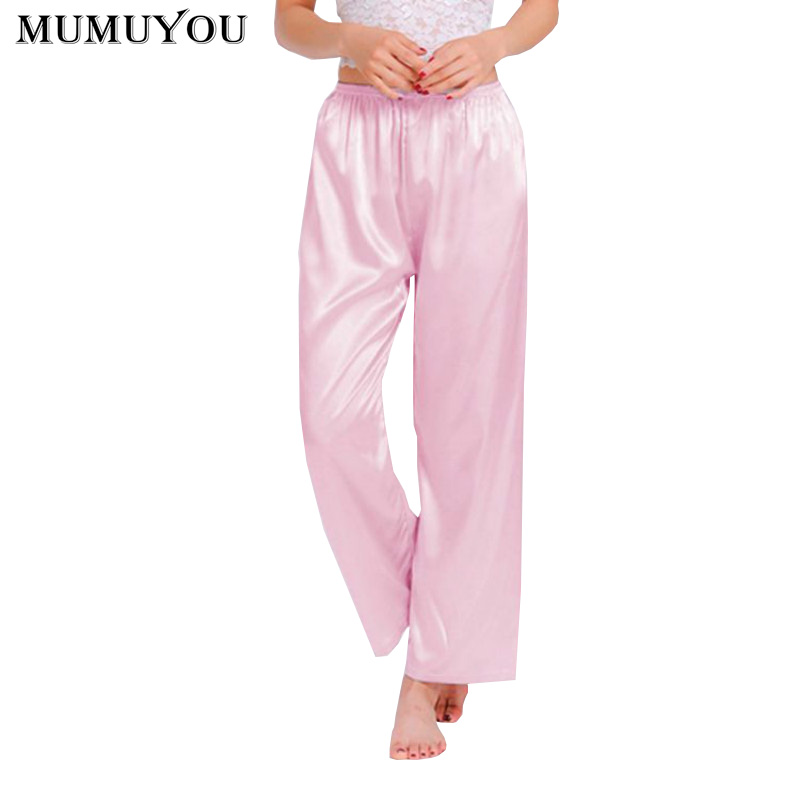 Women Faux Silk Casual Sleep Bottoms Solid Elastic Waist 9 Colors Long Pajamas Trousers Spring Autumn Plus Size XS-3XL 035-338