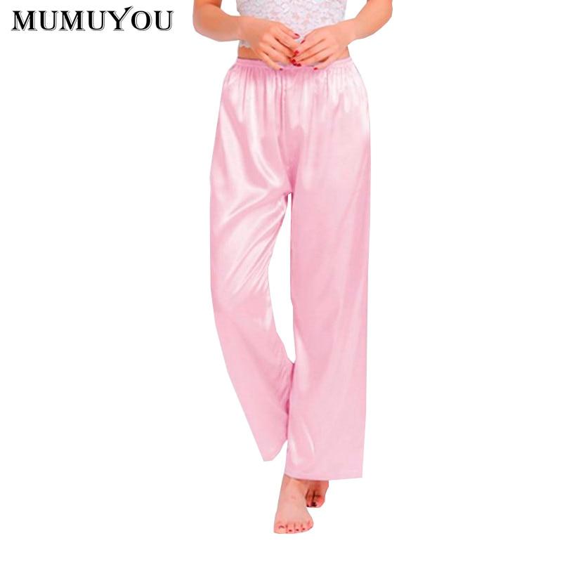 Women Faux Silk Casual Sleep Bottoms Solid Elastic Waist 9 Colors Long Pajamas Trousers Spring Autumn Plus Size XS-3XL 035-338