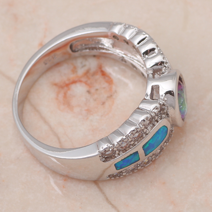 Amazing Engagement Rings for lover Blue fire Opal Silver Stamped Rings Rainbow fashion jewelry USA size #6 #7 #8 #9 OR641A
