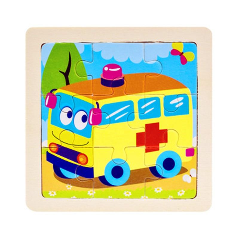 Мини Размер 11*11 см детская игрушка деревянная головоломка деревянная 3D головоломка для детей Детские Мультяшные животные/дорожные Пазлы обучающая игрушка - Цвет: Зеленый