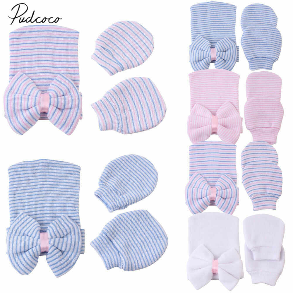2019 Baby Accessories 2pcs/Set Infant Kids Baby Girls Boys Hats Gloves Anti Scratch Face Hand Guards Protection Soft Mittens Hat