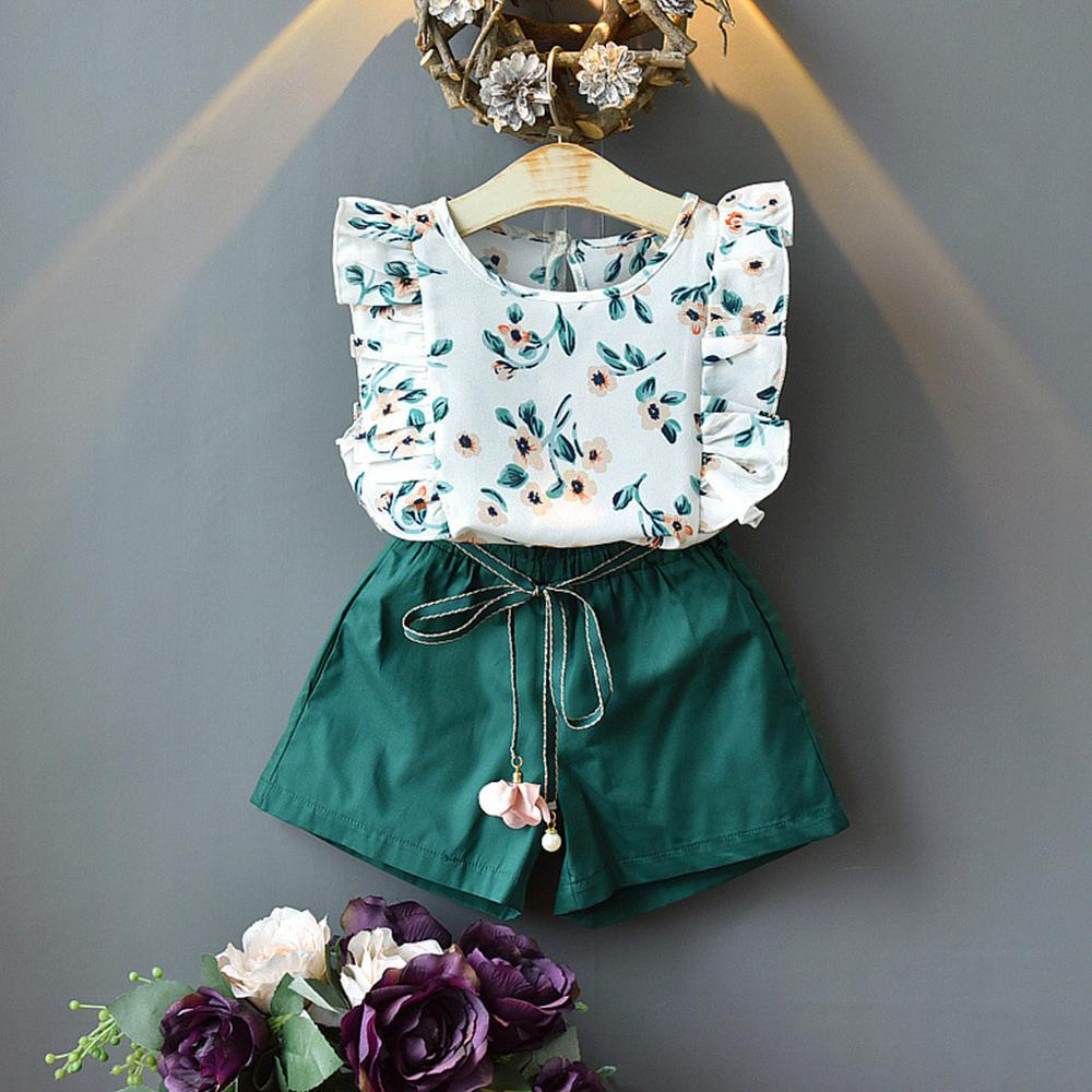 HOT Sale Toddler Kids Baby Girls Clothing Outfits Clothes Flower Print T-shirt Top+Belt Shorts Kids Clothes Set 2Y-7Y