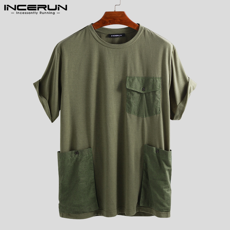 INCERUN Tees Men T-Shirts Pockets Couple High-Street Plus-Size Short-Sleeve Casual Solid title=