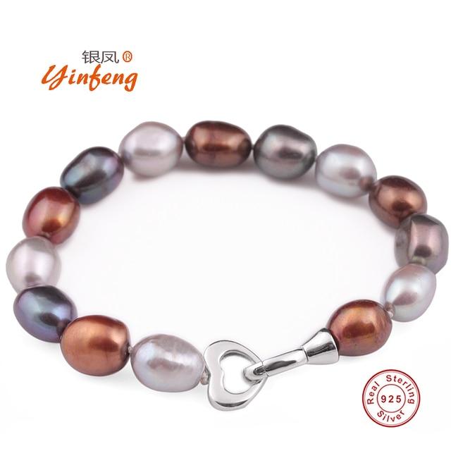 [Yinfeng] 925 de la Plata Esterlina 10-11mm Barroco de La Moda Brazalete Pulsera para la Mujer Amante Corazón Accessaries FreshwaterPearl Bolsa de regalo