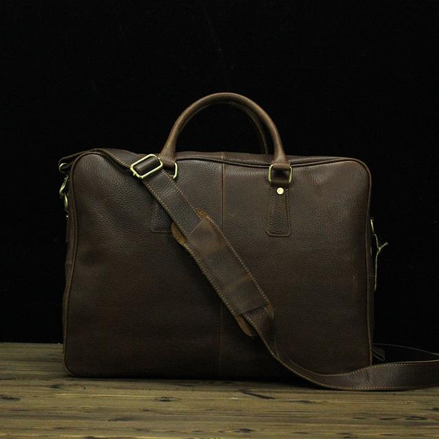 Couro genuíno Homens Carregam na Bagagem Laptop Tote Bag Crossbody Bolsa de Ombro dos homens de Negócios Sacos De Viagem Mochila grande