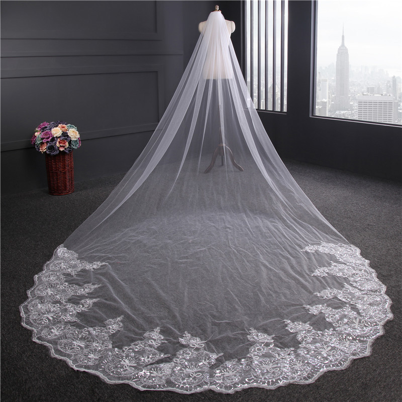 Image 2 - 4 meters Cathedral Wedding Veil Long Lace Edge Bridal Veil with Comb Wedding Accessories Wholesale-in Bridal Veils from Weddings & Events