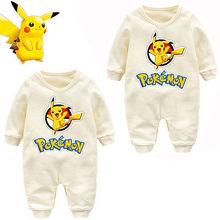 Baby Clothing Newborn Baby Boy Girl Romper Long Sleeve Infant Product baby Pokemon Pikachu Outfit Jumpsuit Rompers costume