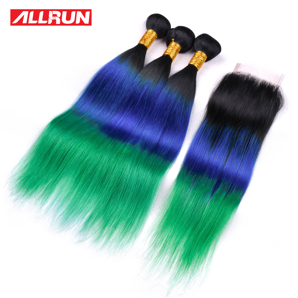 ALLRUN 3 Bundles Brazilian Straight T1b/Blue/Darker Green Color Hair Weave With 4*4 Lace Closure Remy Human Hair Free Shipping