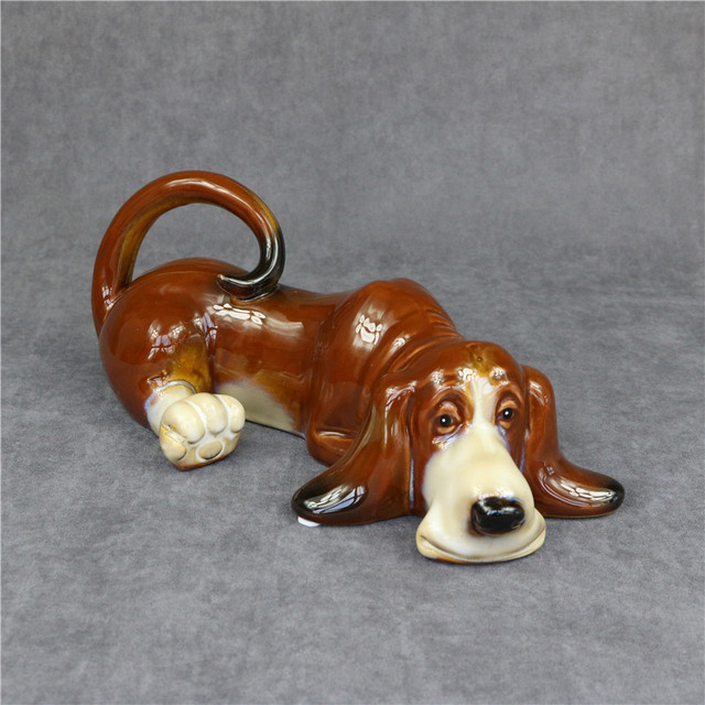 Porcelain Basset Hound Statue Handmade Ceramics Hush Puppy Sculpture
