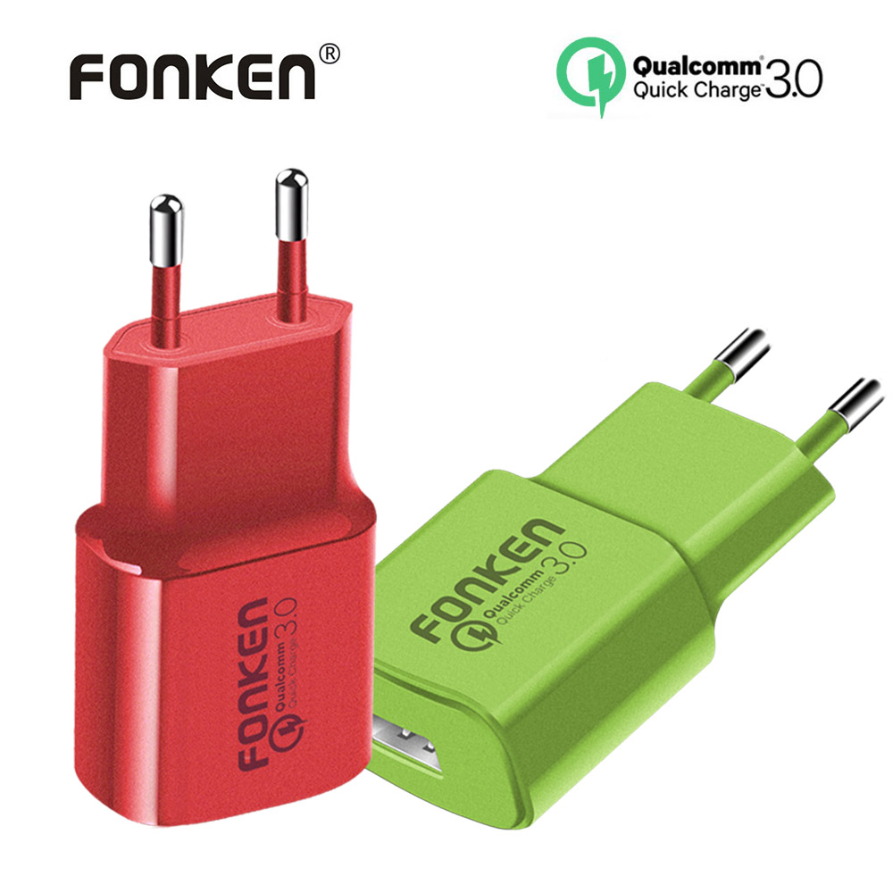 FONKEN Colorful USB Charger Quick Charge 3.0 Fast Charger Max 18W QC3.0 QC2.0 Quick Charging Adapter for Mobile Phone Charger