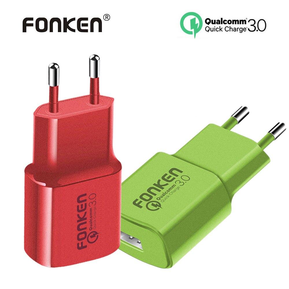 FONKEN colorido USB cargador de carga rápida 3,0 cargador rápido Max 18 W QC3.0 QC2.0 rápido adaptador de carga para teléfono móvil cargador