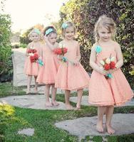 Персиковое платье для девочек на свадьбу, коллекция 2018 года, ТРАПЕЦИЕВИДНОЕ ПЛАТЬЕ с кружевом длиной выше колена, короткие платья для перво