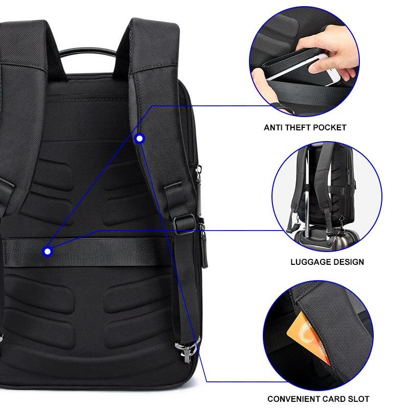 BOPAI Marque Agrandir Sac À Dos USB Externe Charge 15.6 Pouces sac à dos pour ordinateur portable Épaules Hommes Anti-vol Imperméable sac à dos de voyage - 4