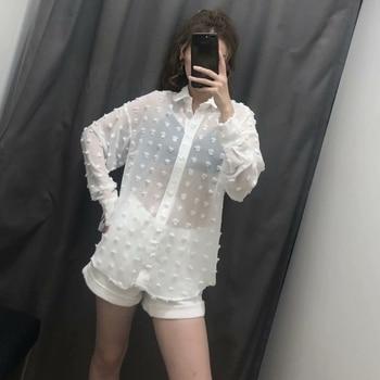 new women fashion dot stitching casual chiffon blouse shirt women long sleeve chic blusas perspective white chemise tops LS3725 4