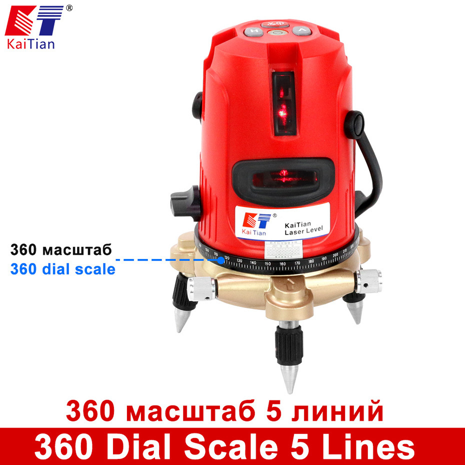Kaitian Laser Level Self Levelling 5 Lines 6 Points Building Tools Tilt Function Lines Rotary 360 Degree Lazer Level Nivel Laser kaitian laser level 5 lines 6 points with battery tilt function 360 rotary self leveling detecto 635nm lazer level eu leveler