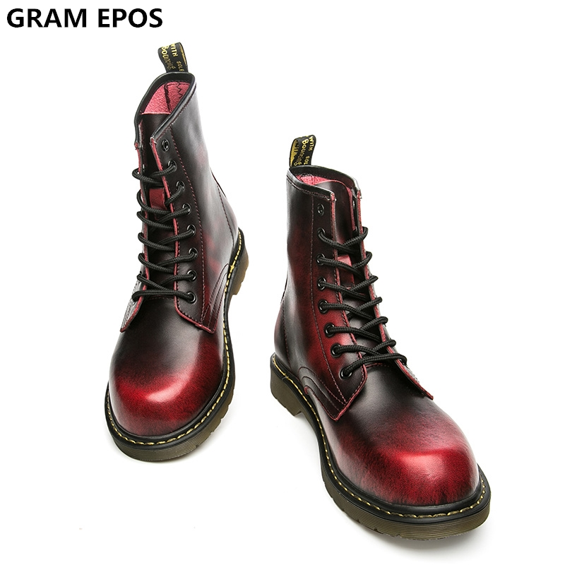 Gram Epos унисекс из воловьей кожи спилок зима осень большой размер 45 46 47 теплые плюшевые и без Плюшевые Ботинки Martin мужская обувь с высоким берц... ...