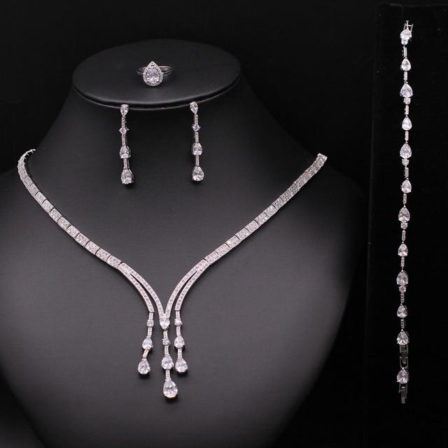 Super de Lujo Accesorios de la Boda de Nigeria Africano Perlas Diamante CZ Sistemas de La Joyería Collar de Cristal de Novia Para Las Novias