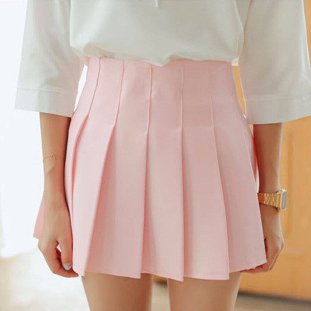 2017 A-line Mini Skirts High Waist Lolita Denim Pleated skirts girls Sailor Skirt Japanese school uniform Skirts Harajuku Large