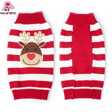 Winter Christmas Reindeer Santa Clause Halloween Pumpkin Red and White Striped Animals Dog Sweater Dog Clothes for Pet Dogs