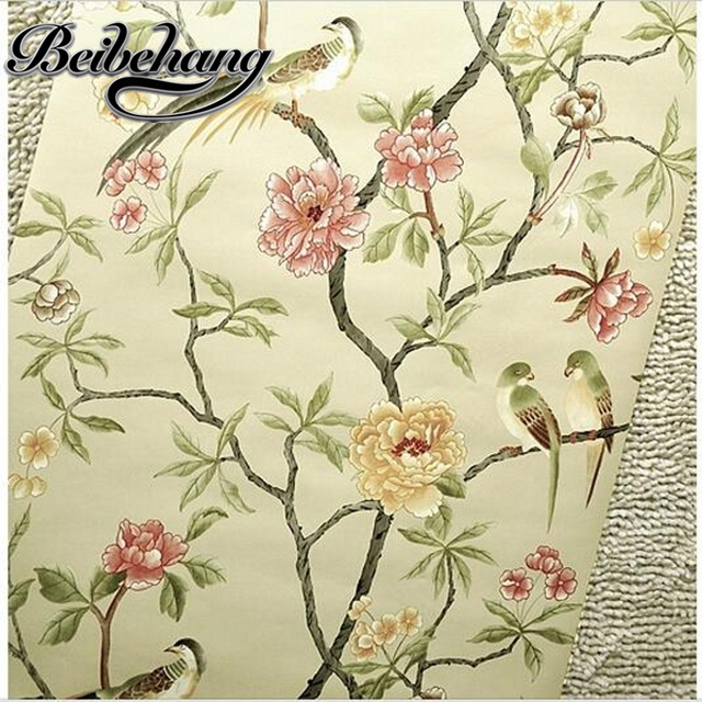 Beibehang birds tree flowers chinoiserie wallpaper roll rof rolls bird tree flower 3d statement wall scroll