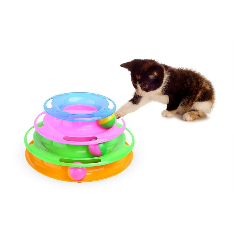 Funny Pet Three Levels Tower Tracks Disc Cat Pet Toy Intelligence Amusement Rides Shelf Training Trilaminar Ball Cat T 2018