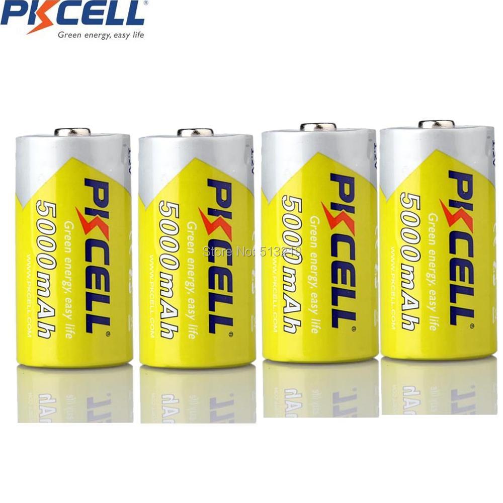 4Pcs*PKCELL C Size 5000mAh 1.2V  Ni-MH C Rechargeable Battery Superior AM-2 LR14 MN1400 E93 R14P C Battery For Flashlight