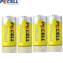 4Pcs*PKCELL C Size 5000mAh 1.2V  Ni-MH C Rechargeable Battery superior AM-2 LR14 MN1400 E93 R14P C battery for Flashlight