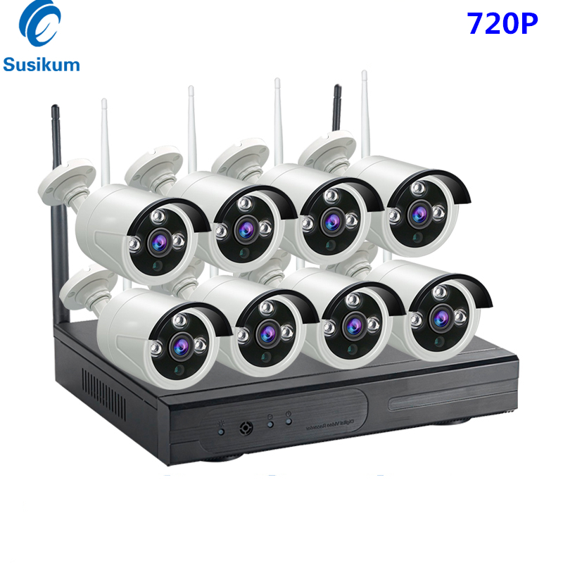 8CH Bullet CCTV System Wireless 720P NVR 8PCS 1MP IR Outdoor P2P Wifi IP CCTV Security Camera System Surveillance Kit 1TB HDD