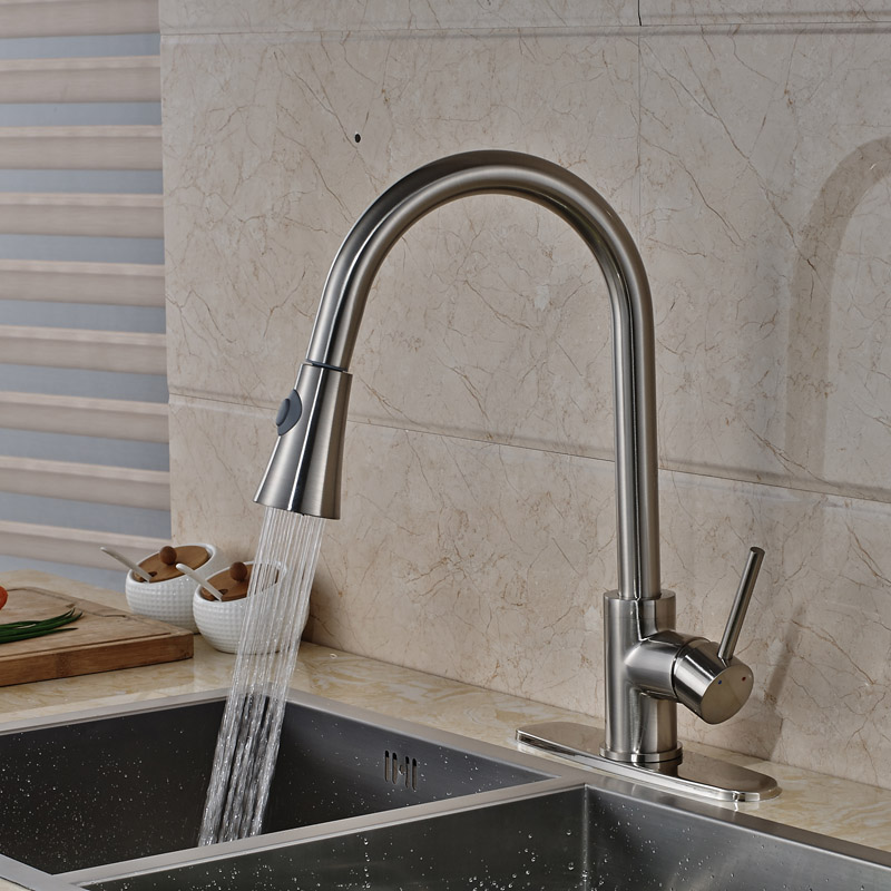 Newly Kitchen Sink Mixer Faucet with Hot Cold Water Taps Brushed ...