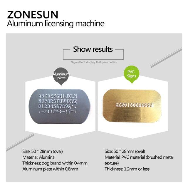 ZONESUN 52 caractères manuel chien Tag Machine en métal Embosser carte didentité estampage Machine en acier gaufrage Machine militaire en acier 99%
