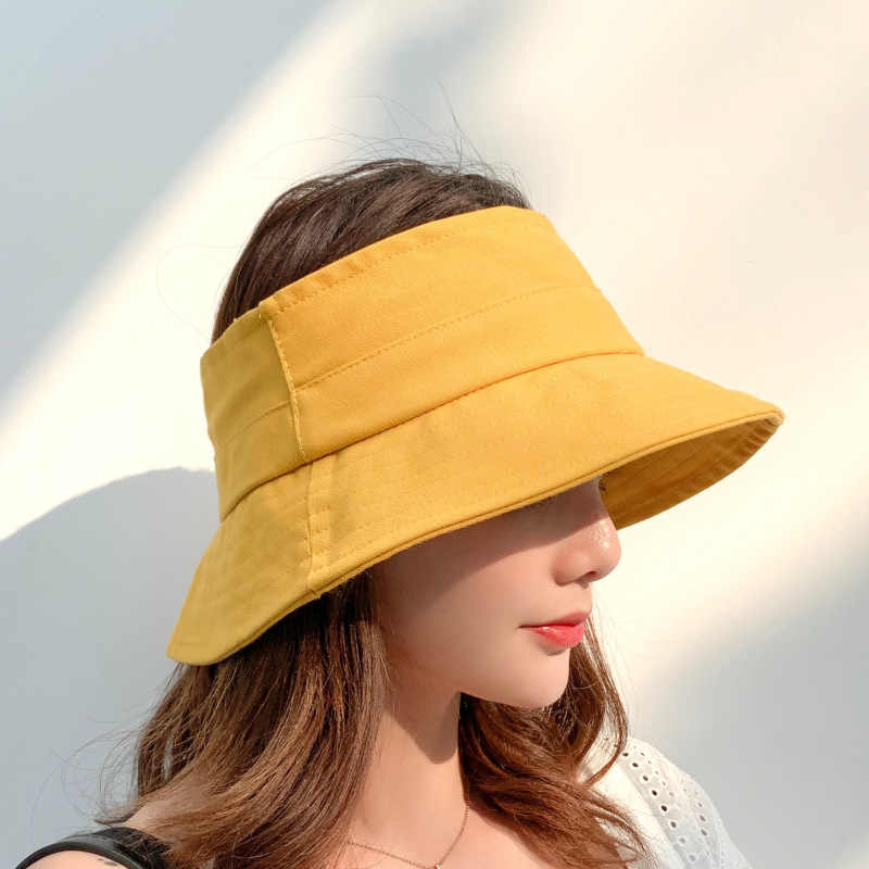 Korean-Style Solid Color Topless Hat Outdoor Movement Quick-Drying Sun Cap Remain Outdoor Sun Visor Tid Hat Lady Summer Hats