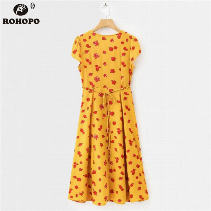 ROHOPO Double Layers Women Rose Printed Midi Dress Orange Elegant Sashes Pleated Wrap Maxi Vestido With Lining YY027H in Dresses from Women 39 s Clothing