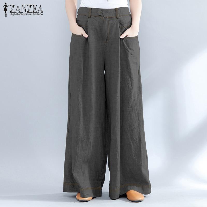 ZANZEA Vintage High Waist   Wide     Leg     Pants   Women 2019 Casual Solid Pockets Loose Long Pantalon Fashion Work Office Baggy Trousers