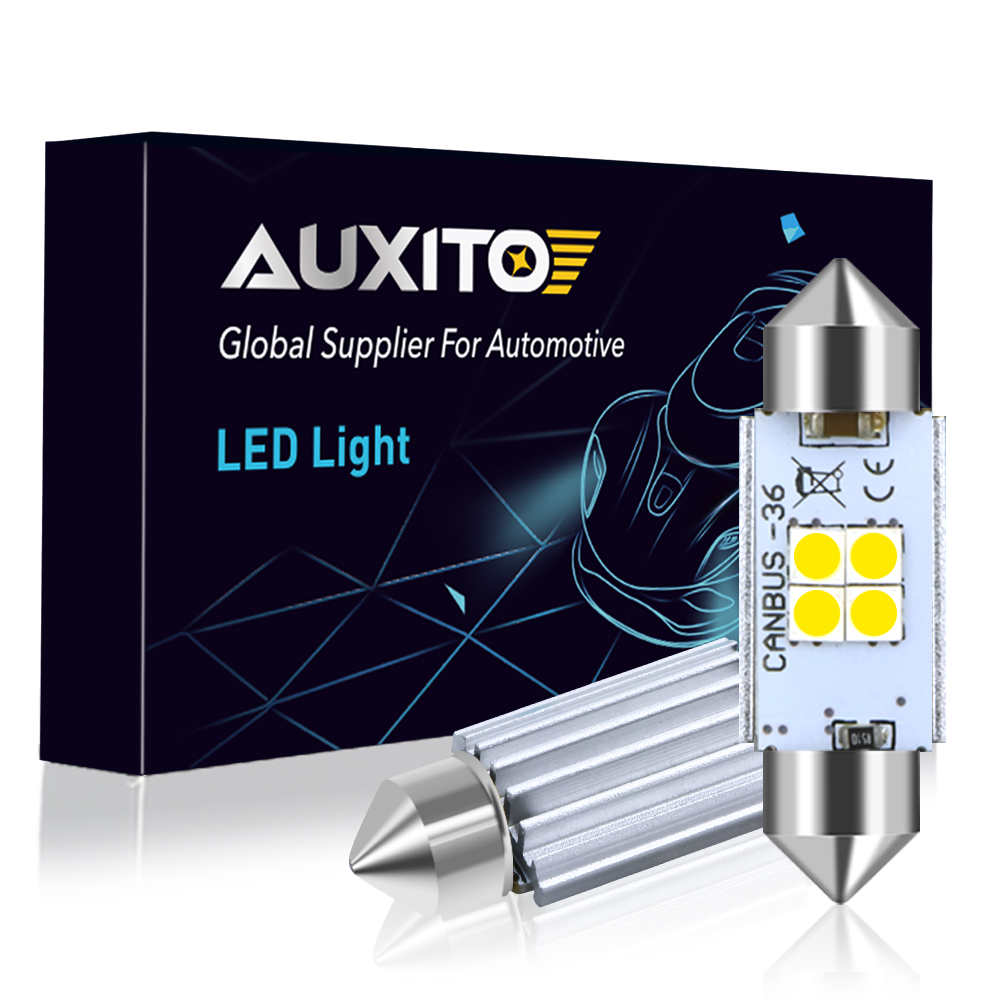 AUXITO 2pcs <font><b>LED</b></font> 36mm White CANBUS C5W Bulbs 3030SMD Interior Lights License Plate Light For BMW E39 <font><b>E36</b></font> E46 E90 E60 E30 E53 E70 image