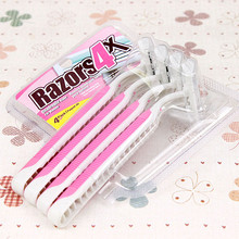 4pc Razor Handle Women Shaver Knife Blade Replacement Triple Epilator Female Machine Shave