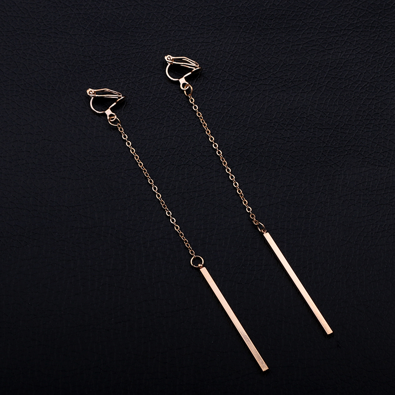 Minimalism Clip On Örhängen För Kvinnor & Tjej Mode Metall Kolumn - Märkessmycken - Foto 4