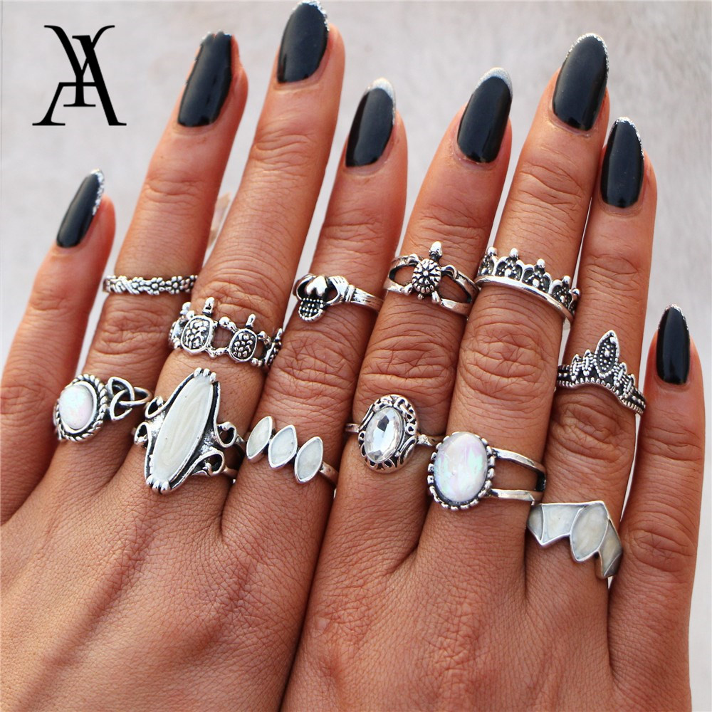 Ay Vintage Natural Opal Stone Turtle Midi Rings Set For