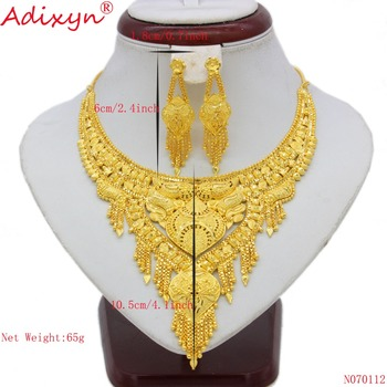 Adixyn India Outvalue Chain&Earrings Jewelry Set for Women Gold Color Tassels Jewelry Ethiopian Women Wedding Accessory N070112