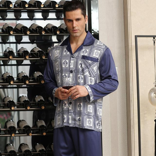 Mens luxo de Seda Pijama de Duas Peças de Cetim Pijamas para Homens Clássico Chinês Pijamas De Seda Dos Homens Sleepwear Conjunto Casa Roupa de Dormir