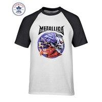 2017 Tops Unisex Metallica Skull Print Heavy Metal Rock Cotton T Shirt For Men