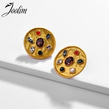 Joolim Baroque Colorful Crystal Stud Earrings Round Statement High End Earring
