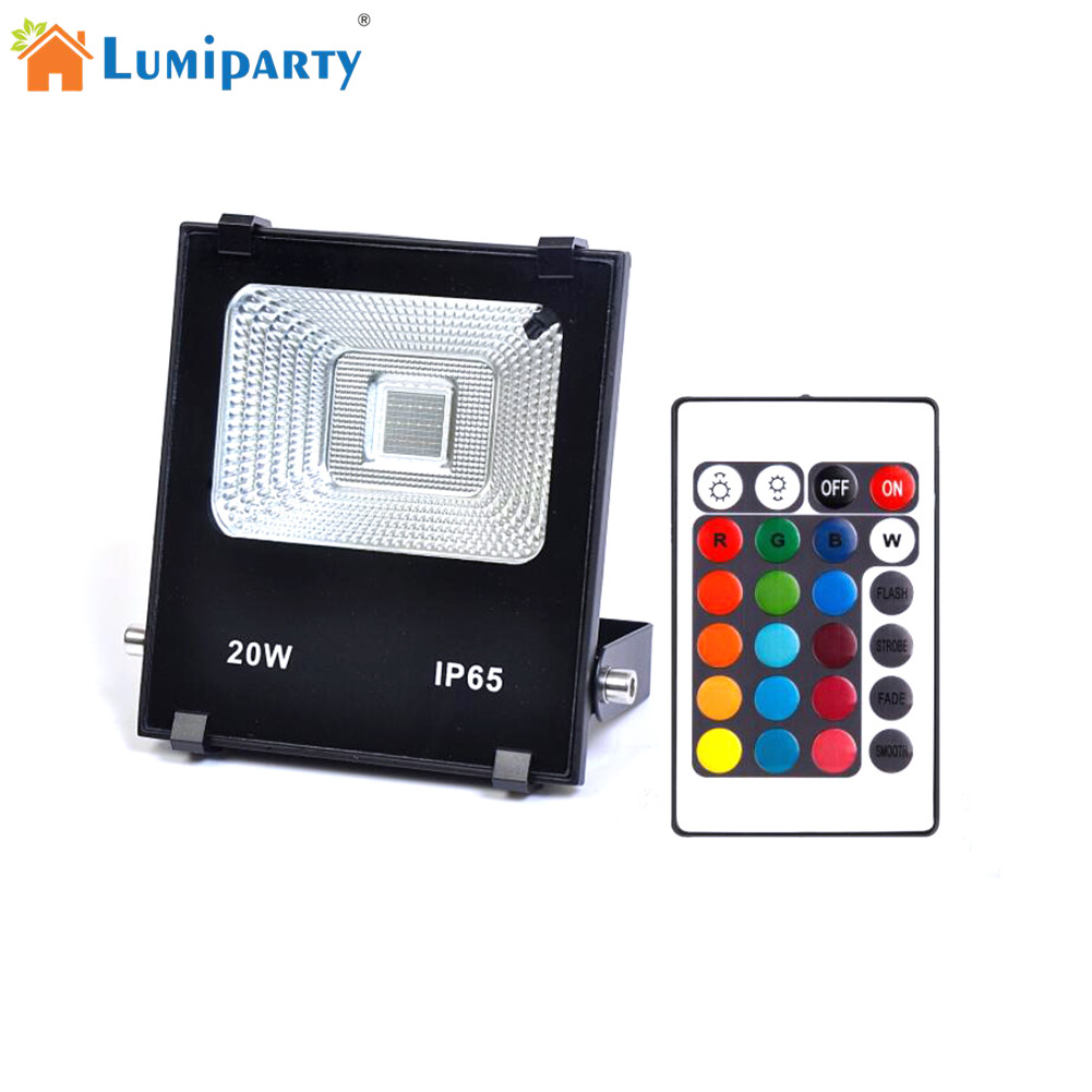 AKDSteel High Power 20W RGBW LED Project Lamp Light Led Panel Waterproof Timing Changing Color Light Remote Controller Lighting