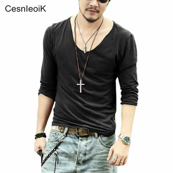 men T shirt men casual leisure fashion long sleeve cotton shirt shirts V-Neck high quality more color sizeS M L XL XXL Q017