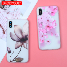BROEYOUE Case For iPhone 7 8 Plus X 3D Relief TPU Floral Silicone 6 6s 6Plus 6sPlus 5 5S SE XR XS Max Phone