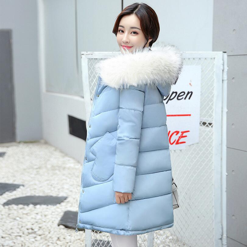 2017 Winter jacket Women fashion Mid-long Warm cotton-padded Down Parkas Coat Big Fur Collar Hooded Jacket outwear s1204 zoe saldana 2017 women winter jacket down cotton padded coats casual warm winter coat turn down collar long loose parkas