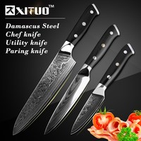 XITUO 3 Pcs Utility Kitchen Knife Sets High Quality 67 Layer Japan VG10 Damascus Steel Chef