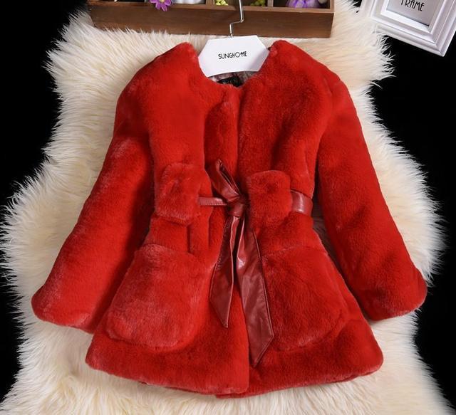 Favori De luxe En Fausse Fourrure Fille Manteaux De Mode D'hiver Enfants  JP24