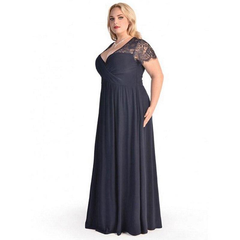 2019 grandes tailles robe de soirée dames longue robe élégante mode été soirée dîner étage longueur robes femmes 3XL 4XL 5XL 6XL