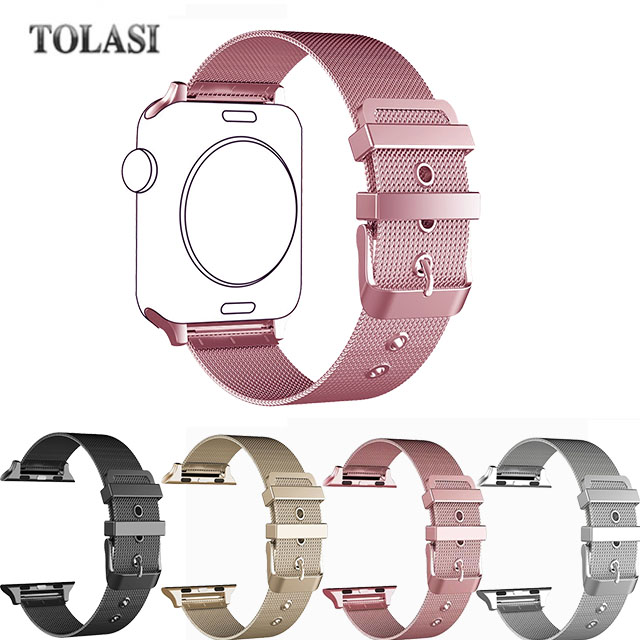 цена на TOLASI Milanese Loop Stainless Steel Bracelet Strap Band for Apple Watch Sport Apple Watch Edition with Classic Buckle 38mm 42mm
