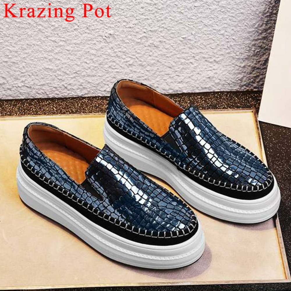 Ventilated natural leather round toe thick med bottom platform slip on concise design casual shoes woman